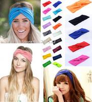 Wholesale Stretch Twist Headband - Hot Sales New 21Colors Solid Twist Sport Fashion Yoga Stretch Headbands Women Turban Bandana Head wrap Hair Accessories 0275