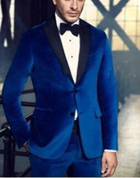 Wholesale Grooms Tuxedos Wedding Royal Blue - 2015 Royal velvet Blue Satin Lapel Groom tuxedos  Wedding suits for mens  Bestman's Wedding suits for men 3 piece(jakcet+pant+tie) 2016