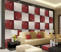 Wholesale Leather Wallpaper White - Wholesale- Custom 3d mural wallpaper Non-Woven wallpaper red white leather carving Living room TV backwall bedding room 3d photo wallpaper