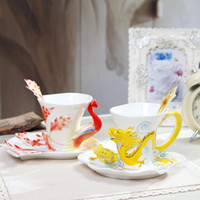 Wholesale Chinese Porcelain Mug - 2016 Unique Hand Crafted Chinese Enamel Porcelain Tea Mug Coffee Cup Set Jindezhen ceramic coffee cup with Spoon and Saucer