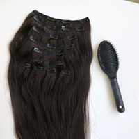 Wholesale Remy Clip Extension Wholesale - 160g 20 22inch 100% Human Hair Clip in Hair Extensions Smooth Brazilian Hair 1B# Off Black Remy Straight Hair 10pcs set free comb