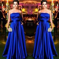 Wholesale red pagent dresses - Royal Blue Prom Dress A Line Floor Length pagent Dresses Fashion Vestidos de festa Hihg Quality Amazing Formal Evening Gowns