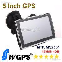3d gps haritaları toptan satış-128 M + FM + Ücretsiz Haritalar ve 4GB 3D harita ile 5 inç Araba GPS Navigasyon Araba GPS Navigator Sistemi CE 6.0 Medya MTK2531 800MHZ