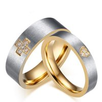 Wholesale Two Tone Ring For Women - Stainless Steel Two-Tone Crystal Wedding Band Rings Heart Design for Women Cross Design for Men Engagement Rings Valentines Gift