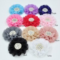 Wholesale Chiffon Flower Headband Pearls - Beaded Chiffon Flower Pearl Rhinestone Chiffon Flowers Ruffled Chiffon Flower Flat Back 40pcs lot Trail Order