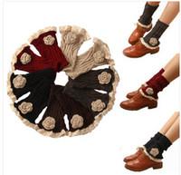 flores de hilo de punto al por mayor-New Autumn Floral Winter Boot Cuffs Women Yarn de punto Crochet Rose Flor calentadores de pierna 50pairs / lot Envío gratis por DHL