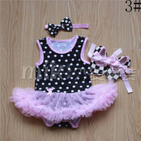 Wholesale Clothes Kids Ch - 2015 Christmas Girl Dress Baby Suit Children Clothes Kids Clothing Girls Headbands Summer Lace Rompers Baby Shoes Children Set Kids CH-8821