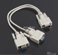 Wholesale Monitor Y Splitter - 1 PC TO 2 VGA SVGA MONITOR Y SPLITTER CABLE LEAD 15 PIN