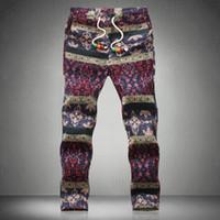 Wholesale Wild Hips - Wholesale-Linen Pants Men 2015 Printing Floral Wild Rope Thin Section Loose Pantalones Man Waist Hip Hop Men's Nation Linen Pants Men