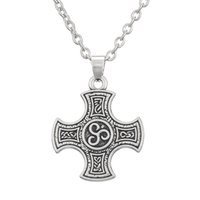 Wholesale Rhodium Plated Cross - New Design Zinc Alloy Rhodium Plated Cross Charm 100pcs lot Jewelry Pendant Link Chain Necklace For Gifts Or Party