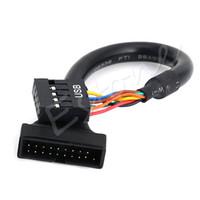câble d'en-tête carte mère usb achat en gros de-Vente en gros- VENTE CHAUDE 19/20 Pin USB 3.0 femelle à 9 broches USB 2.0 Mâle carte mère Adaptateur Cordon DN001
