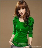Wholesale Korean Shirt Shop - New Korean Women's T Shirt Spring Slim Elastic Puff Sleeve Crew Neck Tops 8colours ,free shopping
