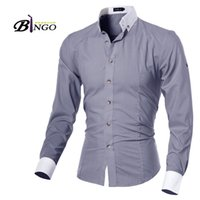 Wholesale Bingo Shirts - Wholesale-Bingo 2016 M-XXL size European & American Unique design men's cultivating long-sleeved shirt collar adjustable sleeve cardigan