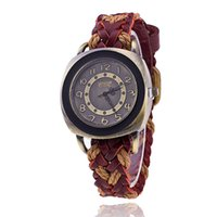 Wholesale Square Watch Ladies - Fashion Retro Watches Woman Quartz Wristwatch Ladies Braided Weave Leather Bracelet Watches For Women Men Unisex Square Design