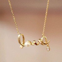 Wholesale Wholesale Diamond Heart Pendants - Korean version of the pendant wholesale fashion temperament wild short paragraph LOVE letter necklace 18K gold-plated diamond necklace