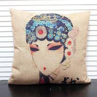 Wholesale Tea Pillow - Wholesale-Retro Square Zen Buddha Tea Peking Opera Pillow Case Linen New