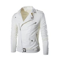 Wholesale Leathe Jackets - S5Q Men's Short Slim England Tide White Washed Leather Motorcycle Leather Jacket Men's Short Slim England Tide White Washed Leathe