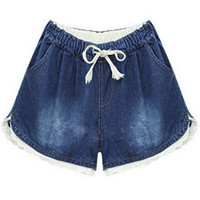 Wholesale women wide leg jeans - Casual Wide Leg Jeans Woman Denim Shorts with Lace Blue Trousers with Pocket Summer Pants XXL Plus Size Woman Clothing 2016
