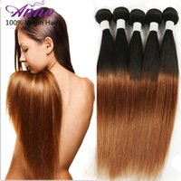 8A Peruvian Ombre Straight Virgin Hair 3pcs Lot 1b / 30 Two Tone Human Hair For Weaves 12-26 inch Anno Rosa Vente en gros Remy Hair