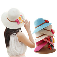 Wholesale Ladies Straw Fedora - Wholesale-Straw Hat Anti-UV Hats For Women Bohemia Wide Brim Flower Cap Ladies Fedoras Floppy Hat 2015 Summer Style Chapeu Sombrero