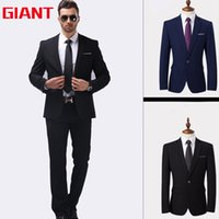 Wholesale Hotel Suits - Wholesale-Fashion Designer Hotel Black blue suits Business Brand Mens Suit set (Jacket+trousers) Blazer Men Jacket and Pant GM323