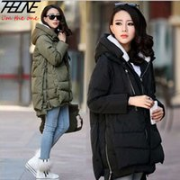 Wholesale-2015-Winter-Frauen Plus Size Down Jacket Military Parka Lange Zipper Thick Female Kapuze Baumwoll Padded beiläufige warme Mantel-Oberbekleidung