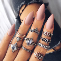 Vintage Exaggerate Women Conjunto de Anel Midi Big Diamond Oco Carve Lotus Finger Anéis Empilháveis ​​Antique Silver Knuckle Fine Jewelry A417