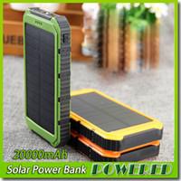 Wholesale waterproof portable charger for sale – best 20000mAh Power Bank Ultra thin Waterproof Solar Power Banks A Output Cell Phone Portable Charger Solar Powerbank