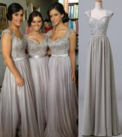 Wholesale Wedding Dresses 88 - Classic Silver Long Lace Bridesmaid Dresses with Sweetheart Chiffon Cap Sleeve Maid of Honor Beach Garden Wedding Formal Gowns 88 2015 Cheap