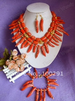 Wholesale Drum Coral Beads - Wholesale-Top Hot New ! Double Drum and Peper-shaped Bead Three Strand Flower African Bridal Coral Jewelry   Gary