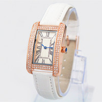 Wholesale Rectangle Diamonds - 2017 New model Free shipping Fashion women leather watch with Diamond Rose Gold famous dial watch Retro Rome lady wristwatches hot sale