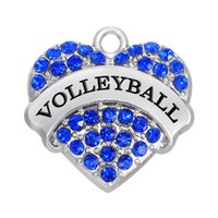 Wholesale Volleyball Charms - Sports Heart Statement Slide Pendant Letter VOLLEYBALL Hot Selling Charms Colorful Rhinestone Fitness Bodybuilding Jewelry For Men&Women