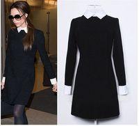 ingrosso nero girare giù il colletto-2017 Fashion Star Style Victoria Beckham Dress Slim elegante risvolto colletto maniche lunghe abiti neri per le donne SPEDIZIONE GRATUITA QJ-069