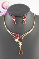 Wholesale Crystal Jewelry Sets Black - Fashion White Pearl Ruby Black Sapphire Garnet Gold Plated Crystal Necklace Earrings Wedding Party Jewelry Set