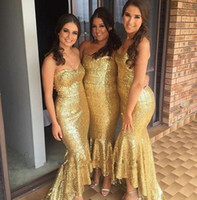 Wholesale High Low Prom Dress Cascade - 2016 New Sparkly Mermaid Gold Sequins Cheap Bridesmaid Dresses Sweetheart High Low Prom Gowns Ruffles Wedding Party Dresses Formal Gowns
