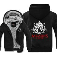 Assassins Creed Wintermantel Kaufen -Casual Game Assassins Creed Druck Dicke Hoodie Warme Winter Fleece Zip Up Mantel Männer Frauen Strickjacke Sweatshirt Jacke Hohe Qualität