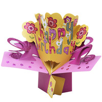 projetos para o cartão de aniversário venda por atacado-Feliz Aniversário Cartão de Convite Design Criativo Bebê Lua Cheia 3D Pop Up Cartões de Feriado Artigos 8yk1 C