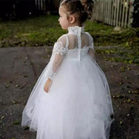 Wholesale long tulle flowergirl dresses - Princess Puffy Tulle Flower Girl Dresses High Neck Illusion Long Sleeves Lace Appliques Cute Flowergirl Dress for Weddings