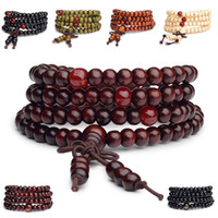 Wholesale Tibetan Rosary Bracelets - Wholesale-6mm natural red sandalwood bead prayer japa rosary mala bracelet Tibetan Buddhist meditation Wooden Rosary Beaded Bracelet