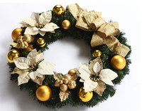 45cm Diameter Golden Christmas Decorative Flower Wreath Christmas Garland  Gift For Home Garden And Hotel UK