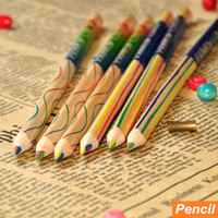 Wholesale Rainbow Pencils - 72 pcs Lot Color pencil Rainbow colored pencils for drawing kids art Stationery Office material escoloar school supplies 6292