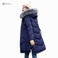 Wholesale Orange Coat Fur Collar - Wholesale- 2017 New Women Long Winter Jacket Plus Size Warm Cotton Coat Pure Color Hooded Fur Collar Female Parkas Wadded Outerwear OK975