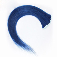 Wholesale tape human hair extensions blue resale online - ELIBESS HAIR Blue Color Tape In Human Hair Extension g set Skin Weft Tape On Human Hairs