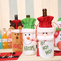 Wholesale Quality Wines Supplies - Christmas Wine Bottle bags Non-woven Fabric Bottle Cover High Quality Bottle Bag For Beer Xmas Home Dinner Party Supplies 3 styles YFA60