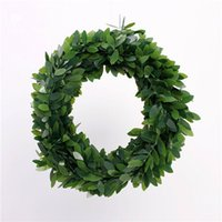 Wholesale Trees Plastic Leaves - Wire Plastic Emulation Green Leaves 80g Christmas Wreath Big Small Christmas Leaves 750cm pcs Tree Door Decoration Natal Enfeite