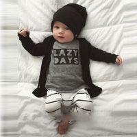 Wholesale Wholesale Striped Tshirts - INS Boys Baby Childrens Clothing Sets Letters tshirts Striped Harem Pants 2pcs Set Cotton Toddler Spring Autumn Home Pajamas Infant Clothes