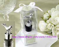Wholesale Gift Boxes For Wine Stoppers - DHL Free Ship 500pcs Home Party Favor GIft Boxed Love Birds Wine Bottle Stopper For Christmas Baby baptism Shower Wedding Bomboniere Favours