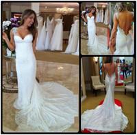 Wholesale Gorgeous Beaded Muslim Wedding Dress - 2016 Gorgeous Beaded White Sweetheart Mermaid Lace Wedding Dresses Sexy Open Back Vestidos De Noivas Custom Made
