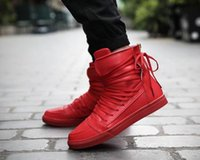 Wholesale Rubber Hip Boots Men - Cool Fashion Personality High Top Skate Shoes Mens Rock Boots Fashion Platforms Sneakers PU Leather Hip Hop Shoes Lace Tied At Back Trendy