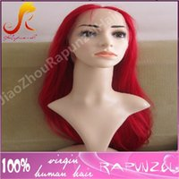 Wholesale Bright Red Wig - Best quality bright red color brazilian human hair silky straight full lace wig
